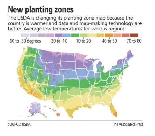 New Planting Zones, Source USDA, The Associated Press