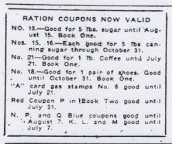 Ration Coupons Now Valid